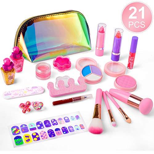 balnore Kinderschminke Set 21 Stück Waschbar Schminkset Spielzeug Kosmetiktasche Makeup Set Mädchen...