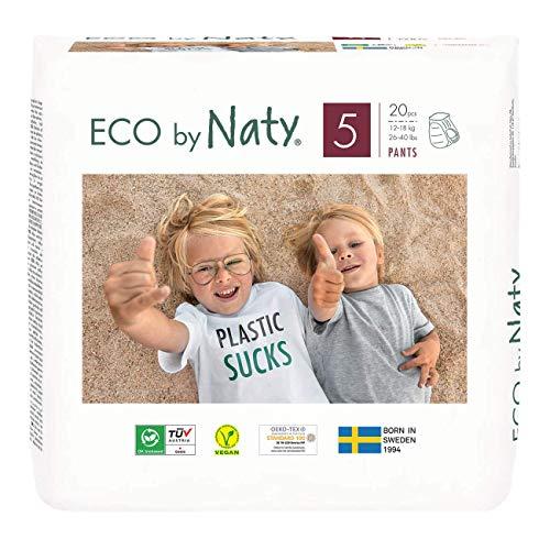 Eco by Naty, Premium-Bio‑Höschenwindeln Pants, Größe 5, 80 Stück, 12–18 kg, aus pflanzenbasierten...