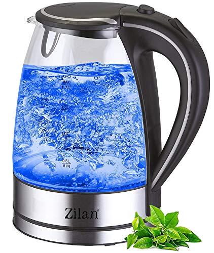 Wasserkocher Edelstahl Glas | 1,7 Liter | 2200W | Blaue LED Innen-Beleuchtung | 360 Grad | Kalkfilter, BPA...