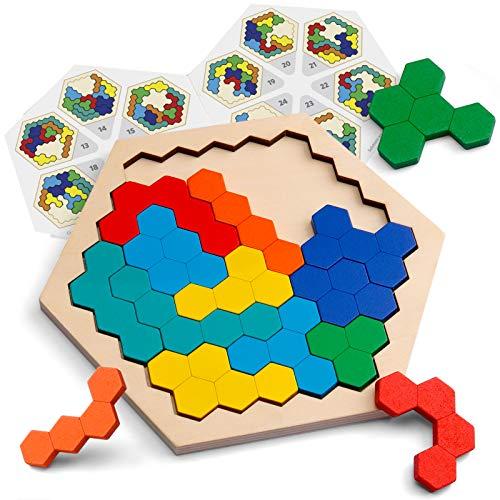 Coogam Hölzernes Sechseck-Puzzle - Form Block Tangram Denkaufgabe Spielzeug Geometrie Logik IQ Spiel STEM...