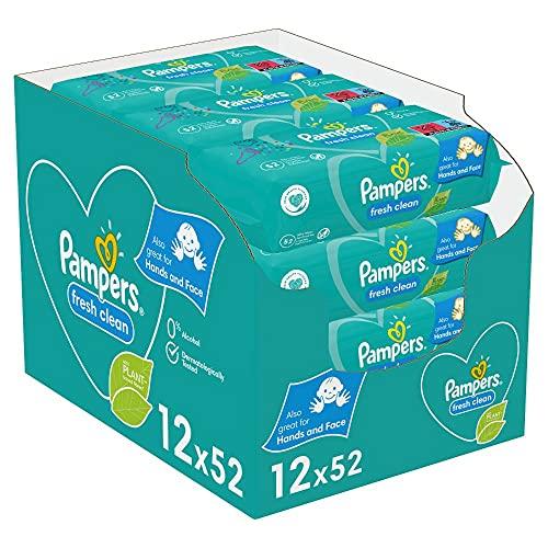 Pampers Fresh Clean Baby Feuchttücher, 624 Tücher (12 x 52) Mit Frischem Duft, Dermatologisch Getestet, Baby...