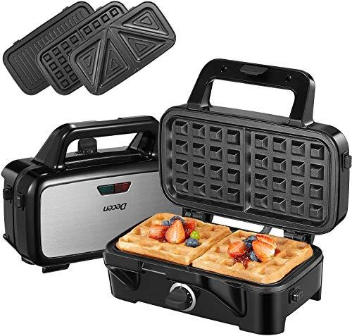 Sandwichmaker 3 in 1(Waffeleisen, Sandwichtoaster, Kontaktgrill), 1200W & 5-Gang-Temperaturregelung mit 3...