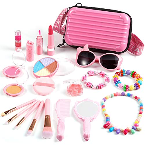 ARANEE Kinderschminke Set Mädchen, 20 PCS Real Kids Kosmetik Makeup Set mit kosmetischen Reiseetui Waschbares...