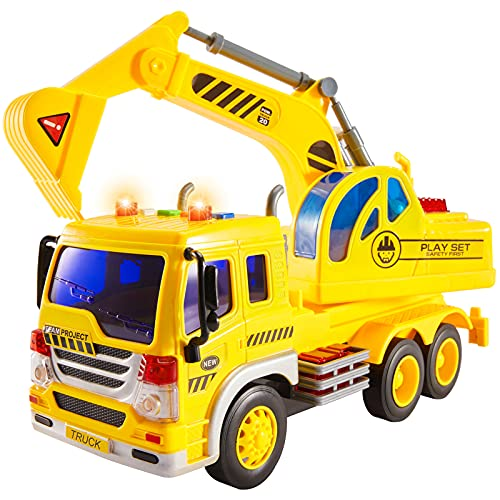 HERSITY Bagger Spielzeug Gross mit Sound und Licht Fahrzeug Sandkasten LKW Auto Kinderspielzeug Geschenk für...