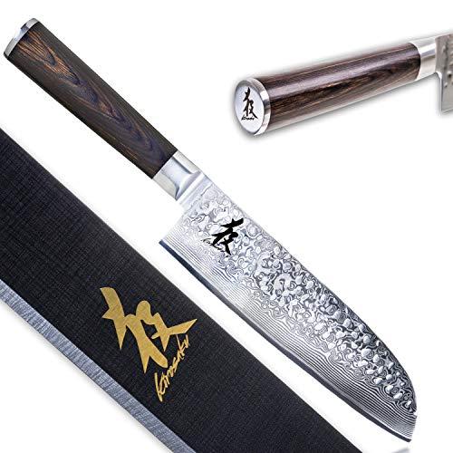 Kirosaku Premium Santoku Messer Damast 18cm - Enorm scharfes Santoku Japan Kochmesser aus hochwertigen...