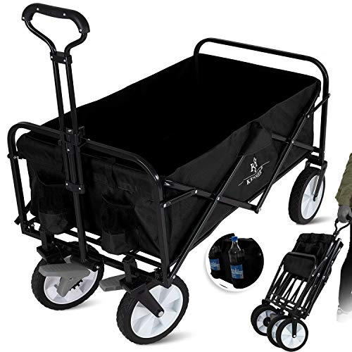 KESSER® Bollerwagen faltbar Handwagen Transportkarre Gerätewagen | inkl. 2 Netztaschen | klappbar |...