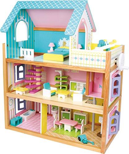 small foot 1557 Puppenhaus 'Residenz' aus Holz, mit 3 Etagen, Fahrstuhl und Balkon, inkl. 23 Puppenmöbel als...