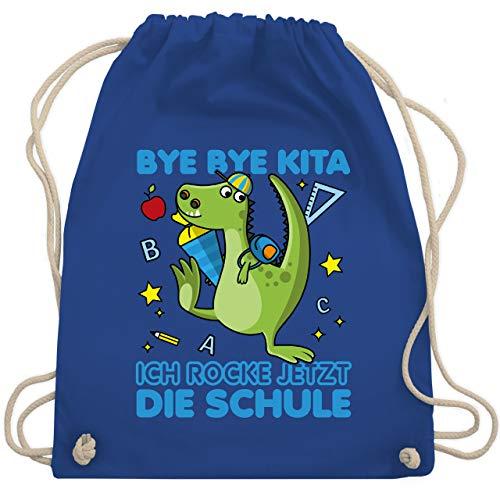 Shirtracer Einschulung und Schulanfang - Bye Bye Kita ich rocke jetzt die Schule Dino Schultüte - Unisize -...