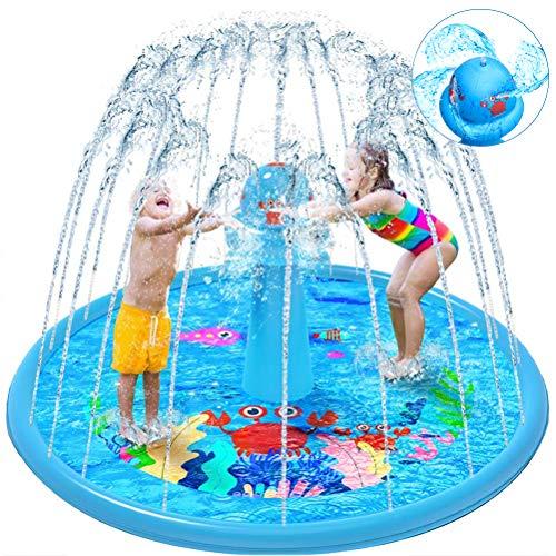 VATOS Splash Pad Wasser-Spielmatte Outdoor Sommer Splash Play Matte Garten Splash Spielmatte Sprinkler Matte...