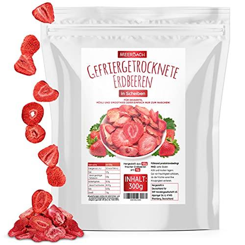 Erdbeeren gefriergetrocknet, 300g gefriergetrocknete Früchte in Scheiben, frei von Zusatzstoffen, fruchtig,...
