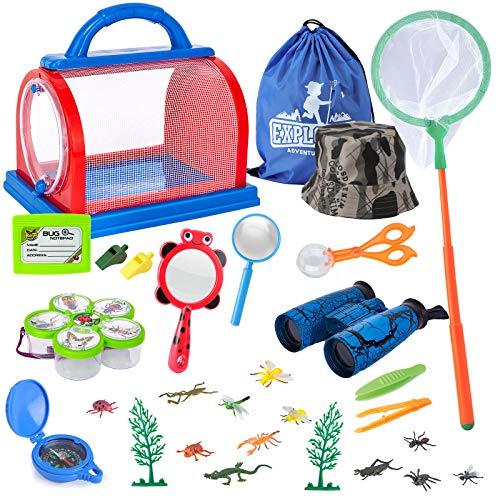 Draussen Forscherset Spielzeug, Bug Catcher Kit 27 Stück mit Kinder fernglas, Schmetterlingsnetz, Kompass...