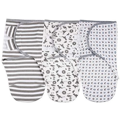 Lictin Pucksack Baby 0-3 Monate Baby Decke Pucktuch Baby Schlafsack Wickel-Decke Set, Swaddle Decke, 3er Pack...