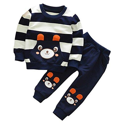 FNKDOR 2-5 Jahre Kinder Baby Mädchen Jungen Kleidung Gestreiften Bär Langarmshirt + Hosen Outfits Set (Navy,...