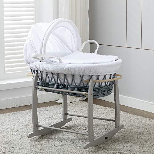 Mcc® Komplettset Moses Weidenkorb, Baby Korb, Stubenwagen, in grau mit Matratze, weißem Bezug und...