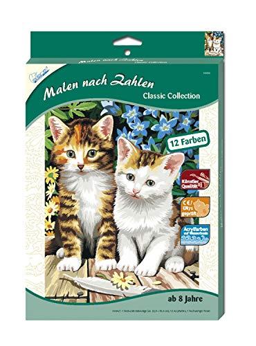 MAMMUT 110006 - Malen nach Zahlen Classic Tiermotiv, Zwei Kätzchen, Katze, Komplettset mit bedruckter...