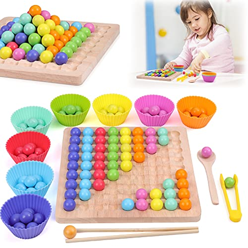ZWOOS Holz Clip Beads Brettspiel, Rainbow Ball Elimination Game Toy Montessori Educational Holzspielzeug Holz...