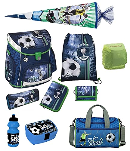 Familando Fußball Schulranzen-Set Scooli Campus FIT 10tlg. mit Sporttasche, Schultüte 85cm groß und...
