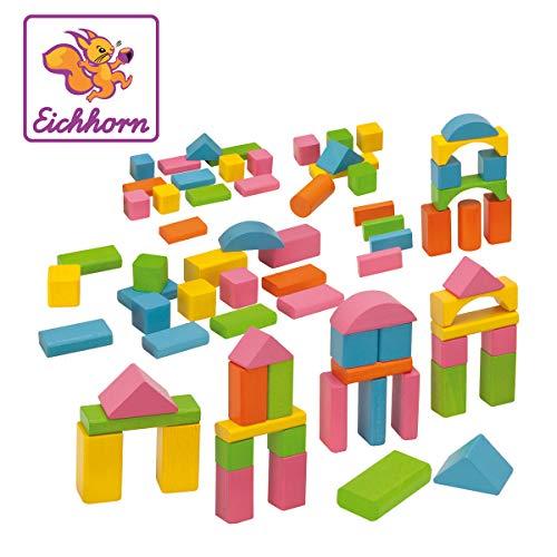 Eichhorn 75 pastellfarbene bunte Holzbausteine in Aufbewahrungsbox und Sortierdeckel, FSC 100% zertifiziertes...
