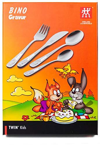 ZWILLING 07009-210 Kinderbesteck-Set Bino, Für Kinder ab 3 Jahren, 18/10 Edelstahl, 4-teilig, mit Gravur,...