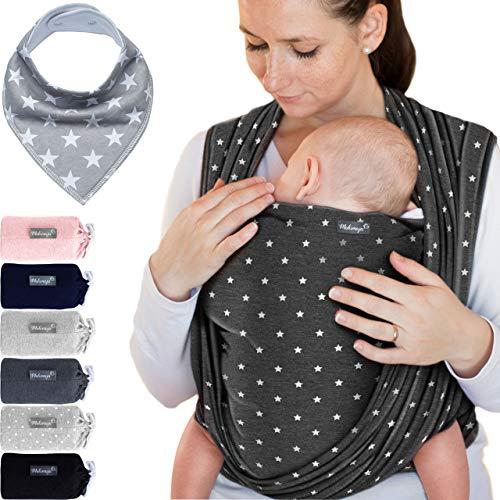 Babytragetuch Dunkelgrau mit Sternen – hochwertiges Baby-Tragetuch für Neugeborene und Babys bis 15 kg -...