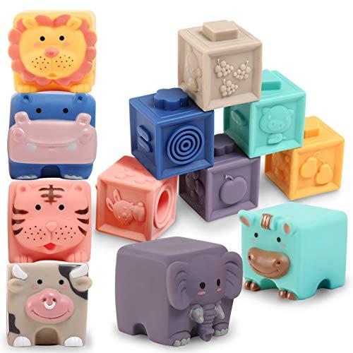 ZaxiDeel Baby Bausteine Spielzeug ab 12 Monate-Weiche Quetschbare Blöcke, 12 Stück Tiere und Zähle...
