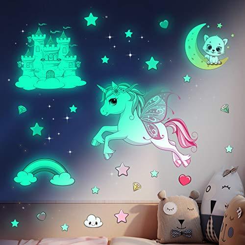 Leuchtsterne Selbstklebend Wandtattoo Kinderzimmer Mädchen Einhorn Wandsticker Sternenhimmel Aufkleber...