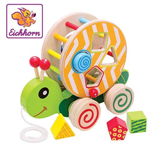 Eichhorn Nachzieh-Stecktier, mit 4 versch. Steckbausteinen, Birkenholzspielzeug mit Bewegung, für Kinder ab 1...