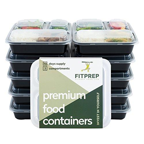 FITPREP® Original 3 Fach Meal Prep Container 10er Pack Kompakt, platzsparend und dennoch 1 Liter Volumen...