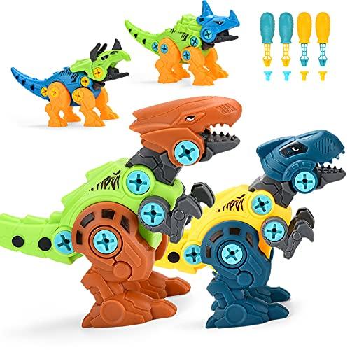 ALLCELE Dinosaurier Montage Spielzeug, 4 Stück DIY Dinosaurier Figuren Set mit Schrauben Pädagogisches Dino...