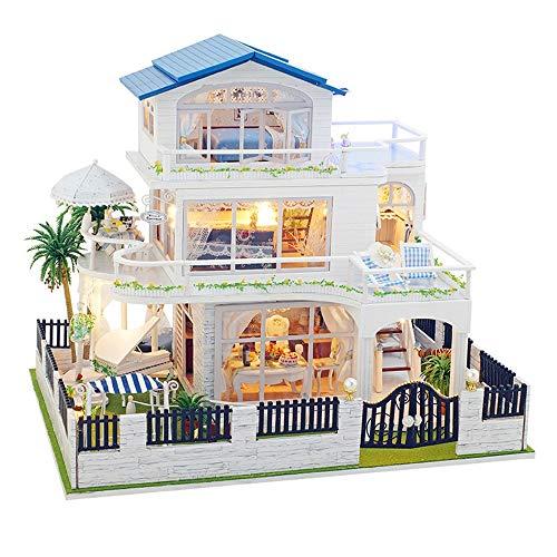 CaoQuanBaiHuoDian Kinder Bausteine  Miniatur-Puppenhaus aus Holz handgemachte Puppenhaus Miniatur DIY...