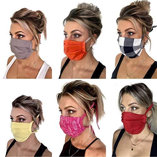 Pet-Jos 6 Stück Mund Nasen Maske stoffmasken mundschutz Baumwolle elastische Schlaufen waschbar Mundschutz...