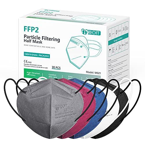 IDOIT FFP2 Mund- und Nasenschutz Maske, 20 Stück 5 farbige CE zertifizierte bunte Atemschutzmasken mit...