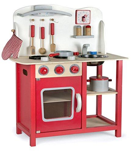 Leomark Classic Spielküche aus Holz - Farbe Rot - Kinderküche mit Zubehör, Holzküchemit Waschbecken,...