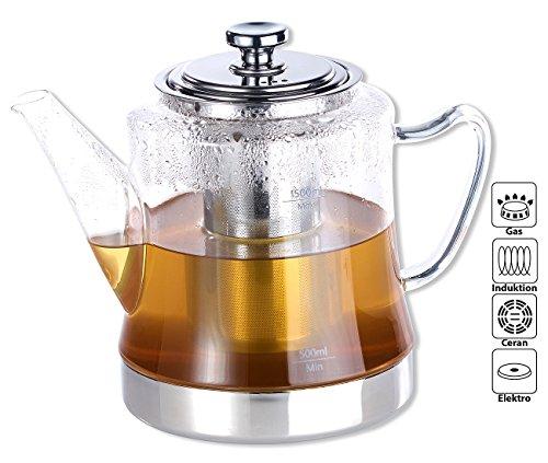 Rosenstein & Söhne Teekocher: 2in1-Glas-Teebereiter & Teekanne für alle Herde, auch Induktion, 1,5 l...