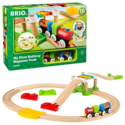 BRIO World 33727 Mein erstes BRIO Bahn Spiel Set – Zug mit Waggon, Schienen & Hängebrücke für Kleinkinder...