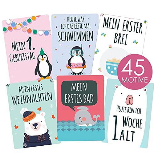35 Baby Meilenstein-Karten mit hochwertiger Verpackung von Cozy Racoon