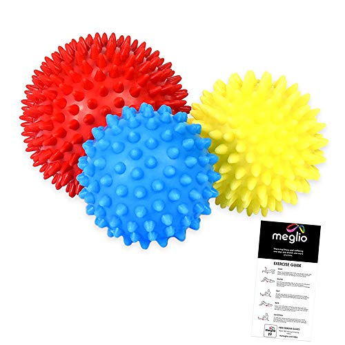 meglio Faszienball Massagebälle 3er Set, Noppenball Set perfekt für den Triggerpunkt-Therapie, Stress...