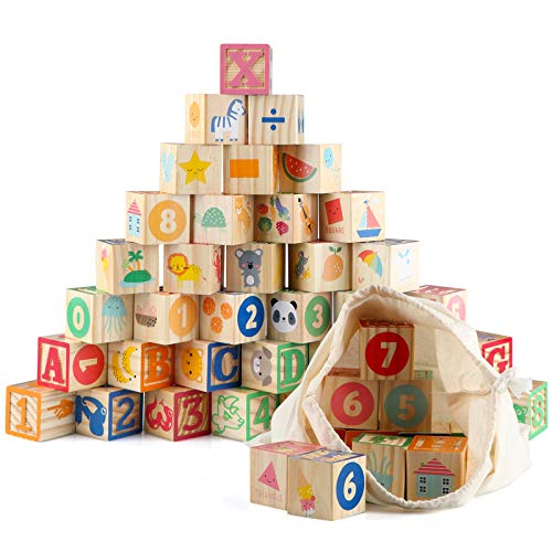 Jacootoys ABC Klötze Bausteine Buchstaben Zahlen 36PCS Alphabet 1,65' Große Holz Blöcke Set Montessori...