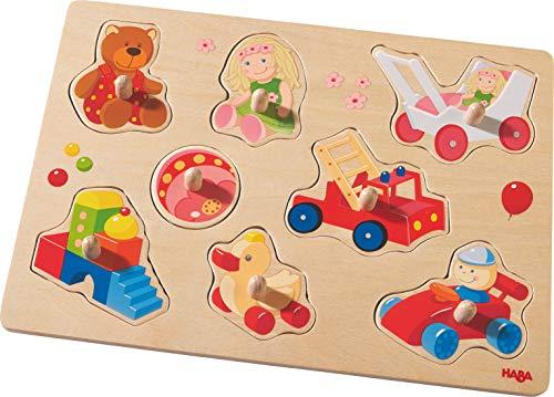 HABA 301963 - Greifpuzzle Meine ersten Spielzeuge | Holzspielzeug ab 12 Monaten | 8-teiliges Puzzle aus Holz...