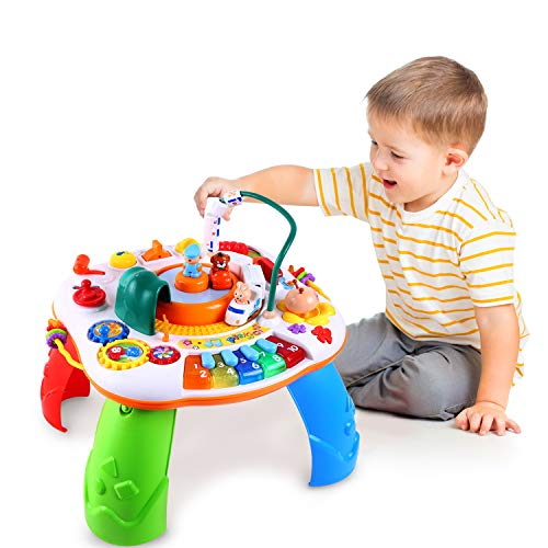 Ohuhu Spieltisch Musikalischer Lerntisch Baby Spieltisch mit Simulationszug, Activity Table Musikspielzeug,...
