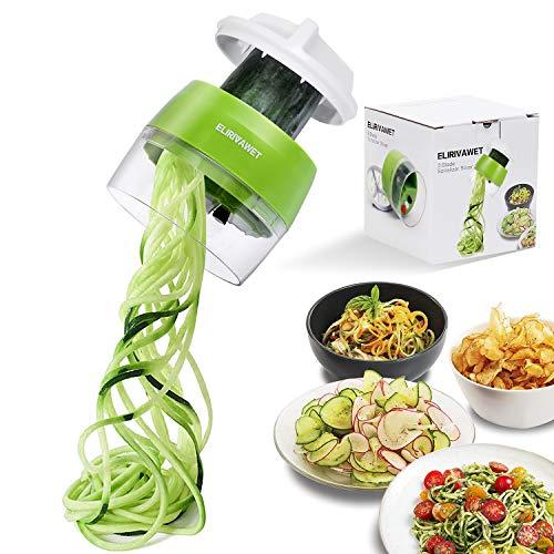 ELIRIVAWET Spiralschneider Hand für Gemüsespaghetti, 4 in1 Gemüse Spiralschneider, Gemüsehobel für...