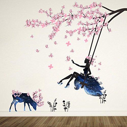 Wandtattoo Mädchen auf Baum Swing & Moose Silhouette Wand Aufkleber mit Rosa Schmetterlinge Dekorative...