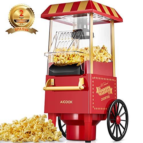 Popcornmaschine für Zuhause, Aicook™ 1200W Retro Popcorn Maker Machine mit Heissluft, Popcornmaker ohne...