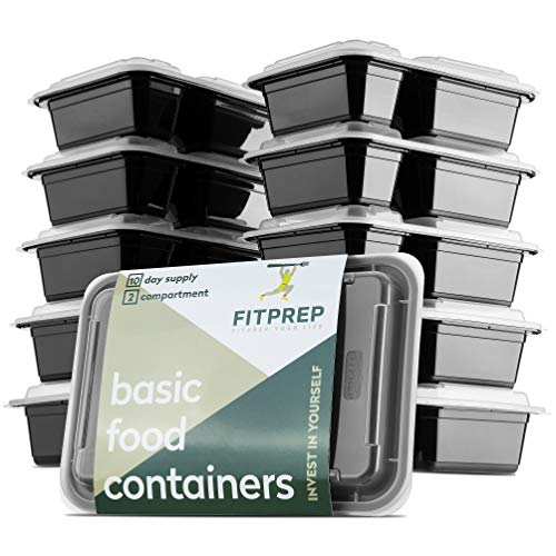 FITPREP® 2-Fach Meal Prep Container -10 Pack - für Meal Prep empfohlen - inkl. schönem Rezeptheft