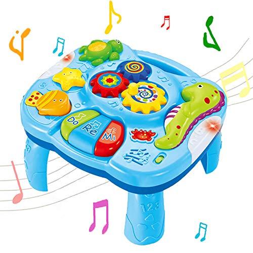 WISHTIME Musical Lerntisch Babyspielzeug 2 in 1 Früherziehung Spielzeug Music Activity Center Tisch für...