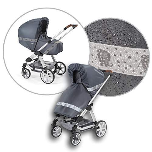 reer DesignLine RainSafe Classic+ Regenschutz für Kombi-Kinderwagen mit Reißverschluss, Reflektoren und...