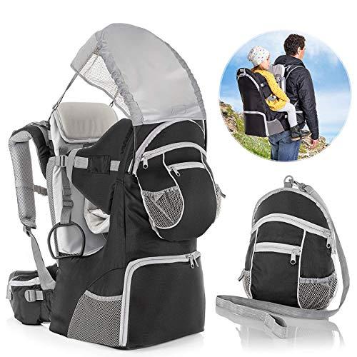 Fillikid Rückentrage - Rücken Babytrage mit Sonnenschutz, Gurt, Kinder Rucksack und Staufächern - Kraxe zum...
