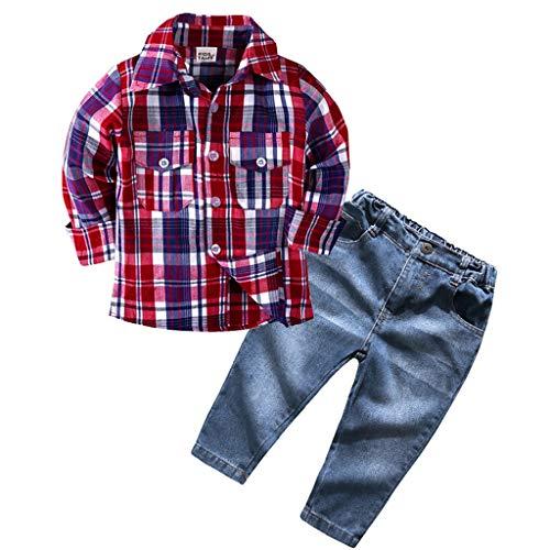 aiyvi Baby Jungen und Mädchen Bekleidungssets, 1-6 Jahre Kinder Jungen Mädchen Langarm Plaid Shirt Tops +...