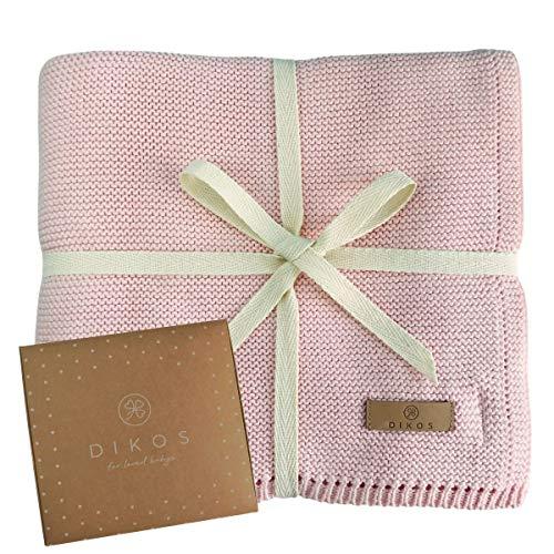 Babydecke Baumwolle aus * 100% * GOTS BIO Baumwolle rosa mit dünner Bordüre für Mädchen Strickdecke Baby...