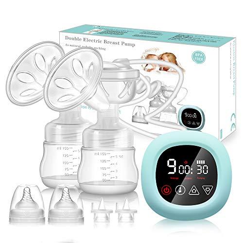 Elektrische Milchpumpe PiAEK Doppel Milchpumpe Stillpumpe mit Touchscreen Wiederaufladbares Tragbares Leise 3...